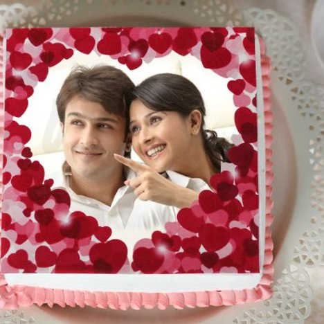 Hearti-liciously yours - Rectangle Shape Anniversary Photo Cake