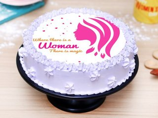 Round Shaped Womens Day Poster Cake