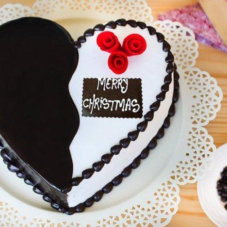 Heart-Shaped Choco Vanilla Christmas Cake