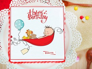 Sleepy Returns of The Day - Square Shaped Cake for New Born Baby