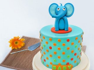 Elephant Fondant Cake For Kids