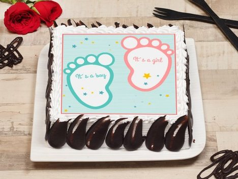 Sqaure Shaped Baby Shower Poster Cake