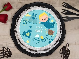 Round Shaped Buttercream Baby Shower Poster Cake