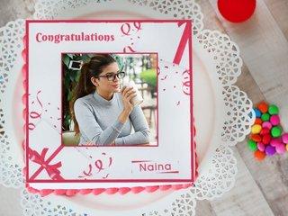 Bandeau Love Congratulations Photo Cake - Send Now