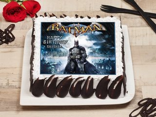 Square-shaped Batman Poster Cake