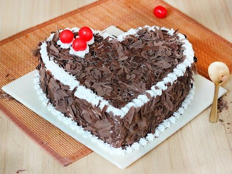 Heart Shaped Black Forest Cake with Choco Flakes Toppings