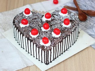 Heart Shaped Black Forest Cake with Cherry Toppings