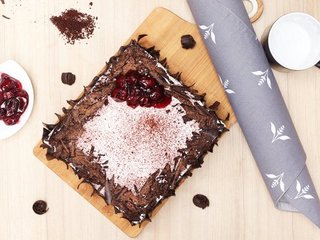 Top View of Black Forest Vegan Cake in Ghaziabad