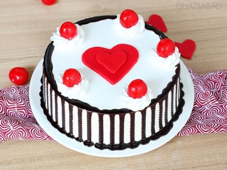 Black Forest with Heart Cake in Ghaziabad