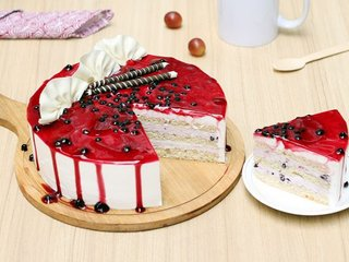 Sliced View of Ambrosial Blueberry Cake in Delhi