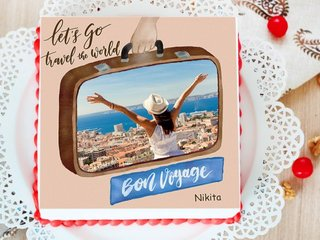 Au Revoir - Happy Journey Photo Cake