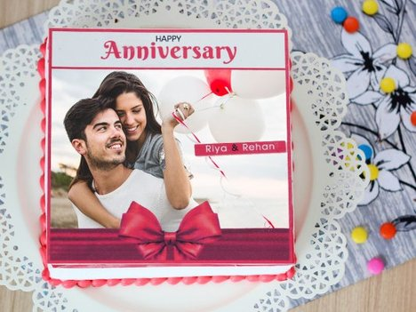 Bow Of Love photo cake for anniversary