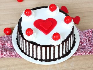 Black Forest Cake with Fondant Heart and 5 Cherries