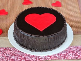 Choco truffle cake with a big heart