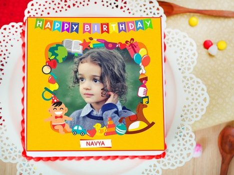 Iconic Temptations - Square Shaped Photo Cake for Kids