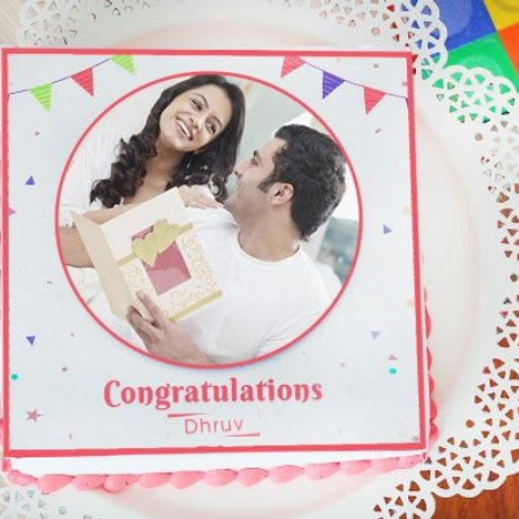 Send Colorful Confetti Love Photo Cake for Best Wishes
