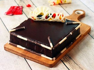 Couverture Chocolate Square Cake in Bangalore