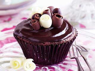 Chocolate Shavings Garnish Cupcake