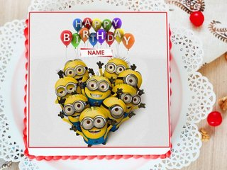 Minion Photo Cake For Kids Birthday
