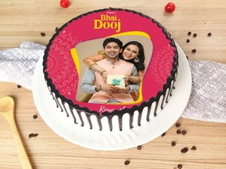 Happy Bhai Dooj Photo Cake