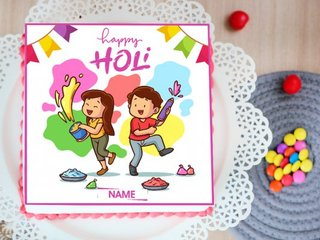 Happy Holi Poster Cake