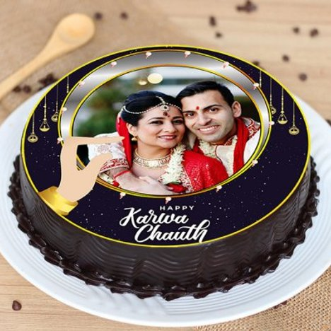 Happy Karwa Chauth Photo Cake