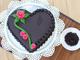 Heart Shape Chocolate Cake For Wife Birthday