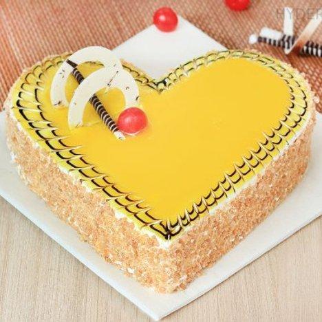 Creamy Heart Shaped Butterscotch Cake