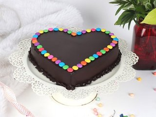 Order Choco Gems Cake in Gurgaon;Side View of Choco Gems Cake;Top View of Choco Gems Cake