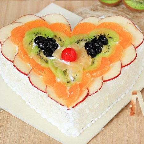 Age of Fruits - Heart Shaped Fruit Cake in Ghaziabad
