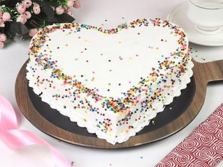 Order Chunky Pineapple Heart Cake Online in Gurgaon;Side View of Chunky Pineapple Heart Cake;Top View of Chunky Pineapple Heart Cake