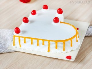 Side View of Heartful Of Love - Heart Shaped Vanilla Cake in Hyderabad