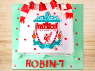 Multi flavored Liverpool FC theme cake