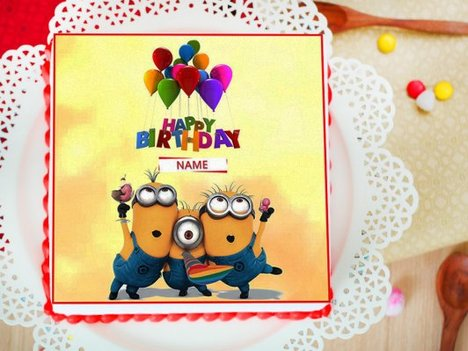 Minion Birthday Photo Cake For Children
