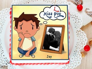 I Miss You Photo Cake