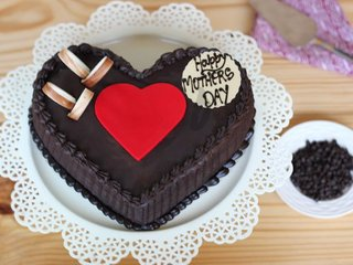Double Heart Choco Truffle Special Cake For Moms Day