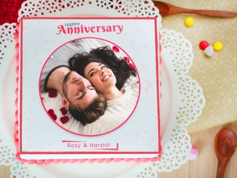 Now And Always marriage anniversary photo cake
