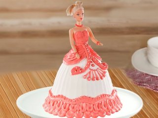 Multi flavored red barbie fondant cake
