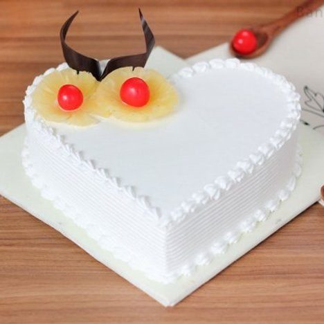 Heart Shaped Pineapple Cake Available in Bangalore
