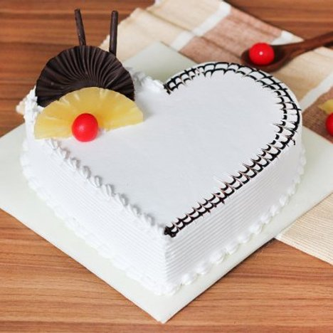 Heart Shaped Pineapple Cake For Special Day