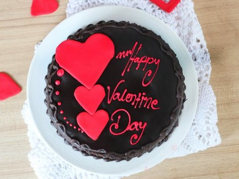 Choco Truffle Cake with 3 Hearts For Valentine Day - Order Now