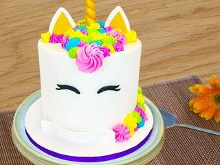 Rainbow Unicorn Fondant Cake