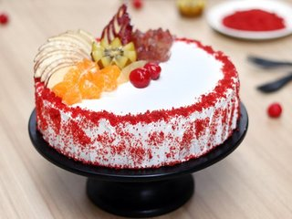 Red Velvet Fruit Vegan Cake in Delhi