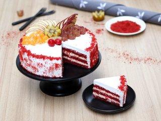 Sliced View of Red Velvet Fruit Vegan Cake in Ghaziabad