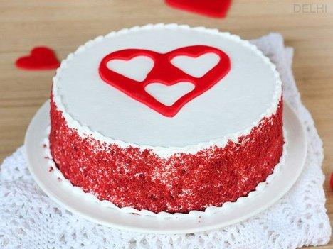 Red Velvet with 3 Fondant Heart Cake in Delhi