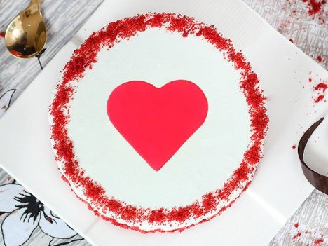 Red Velvet with Fondant Heart Cake in Gurgaon