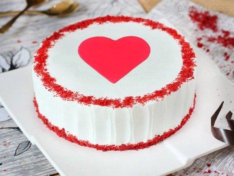 Red Velvet with Fondant Heart Cake in Bangalore