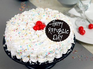 Republic Day White Forest Cake