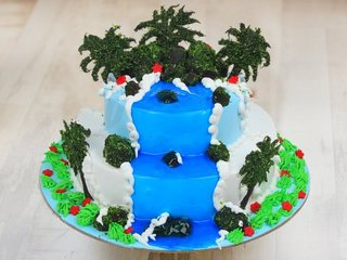 Multi flavored serenity of nature fondant cake