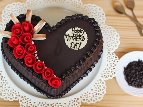 Heart Shaped Choco Truffle Cake For Mothers Day